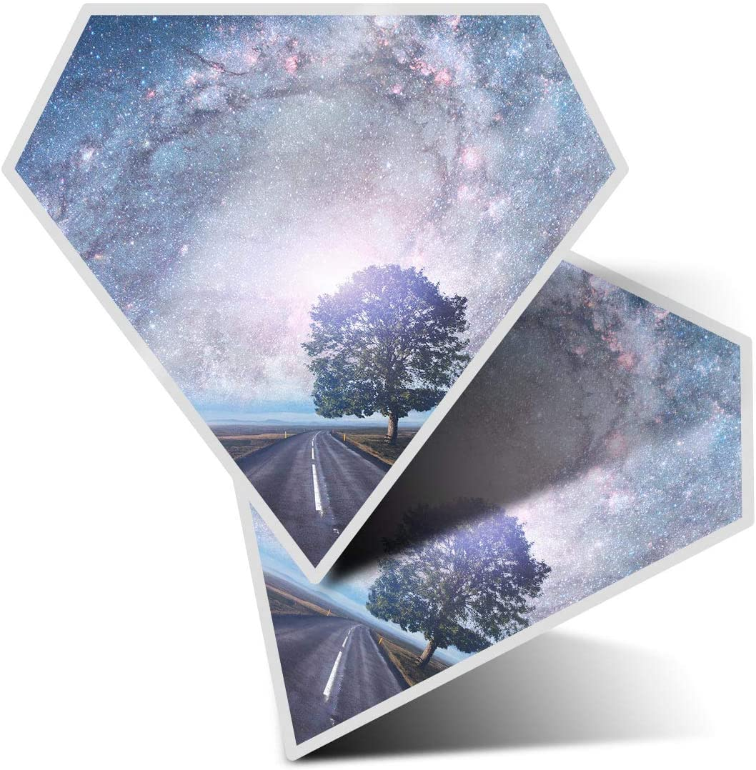 Awesome 2 x Diamond Stickers 7.5 cm - Solar System Fantasy Space Road Fun Decals for Laptops,Tablets,Luggage,Scrap Booking,Fridges,Cool Gift #16708