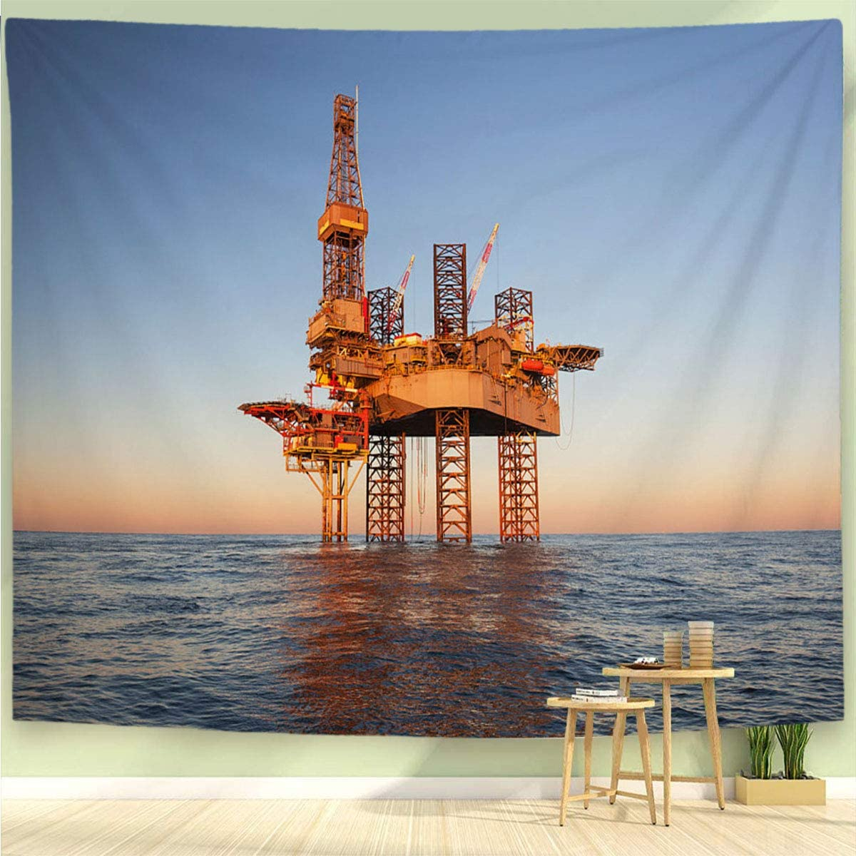 BEIVIVI Nature Tapestry Wall Tapestry Wall Hanging an Offshore Oil Drilling Rig Wall Tapestry with Art Nature Home Decorations,6050in
