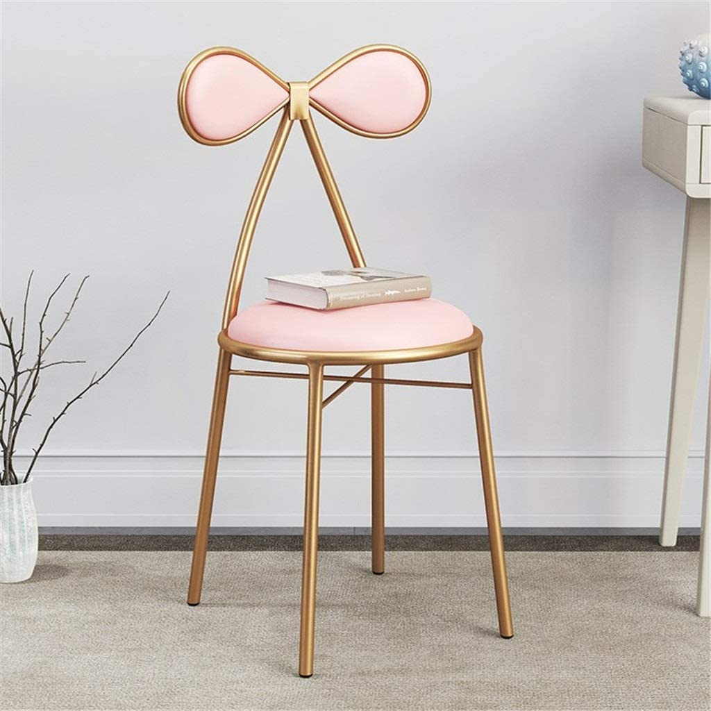 ALIPC Comfortable Dressing Stool Golden Back Makeup Chair Dining Chair Tea Shop Beverage Shop Reception Desk Bar Stool Round Chair Size 404383CM Decorative Furniture (Color : D, Size : 404383CM)