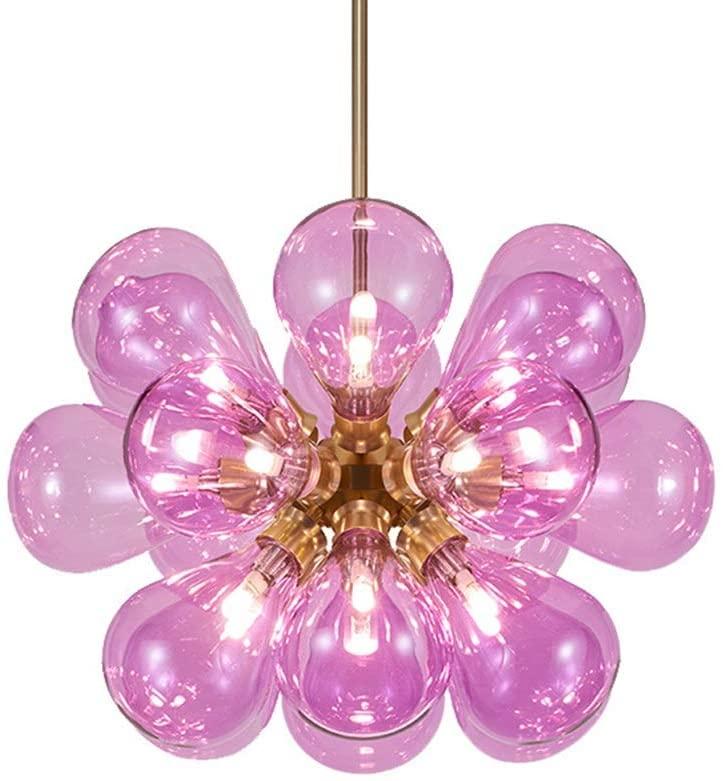 Zhengtufuzhuang Pink Glass Chandelier 60 60 40cm Nordic Creative Personality 18 LED Chandelier Living Room Restaurant Cafe Restaurant Childrens Room White Light, Good Light Transmission Long Life