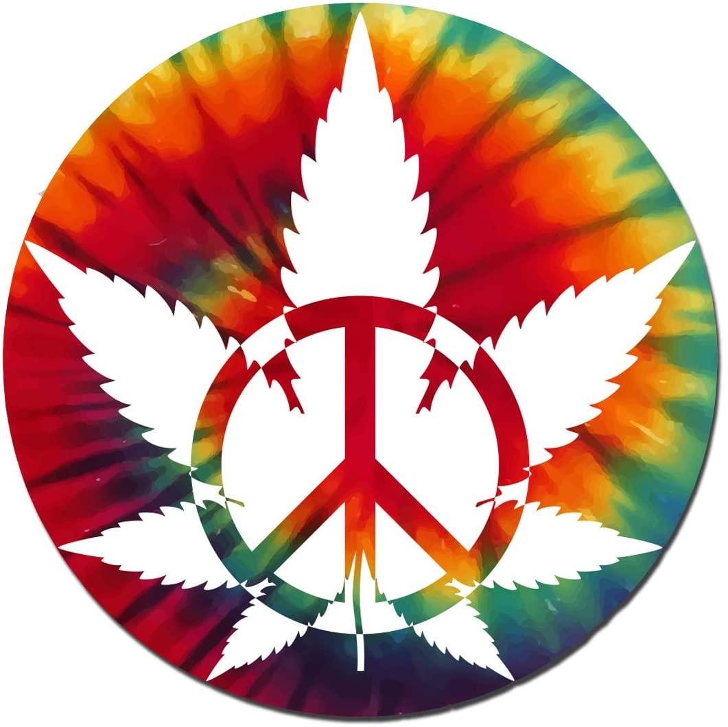 Vincit Veritas Marijuana Cannabis Peace Tie Dye Peace Vinyl Decal Sticker Tie Dye Stickers Weed Stickers Pot Leaf Sticker Dab Stickers Cannabis Labels | Premium Quality | 4-Inch by 4-Inch | S009