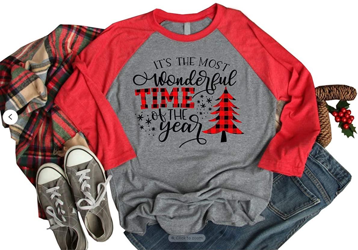 Women Merry Christmas Sweatshirt Leopard Plaid Xmas Tree Graphic 3/4 Sleeve Raglan Baseball Shirt Casual Holiday Tops
