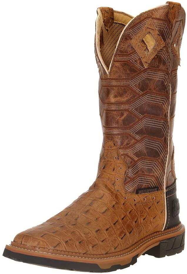Justin Men's Derrickman Croc Print Western Work Boot Soft Toe
