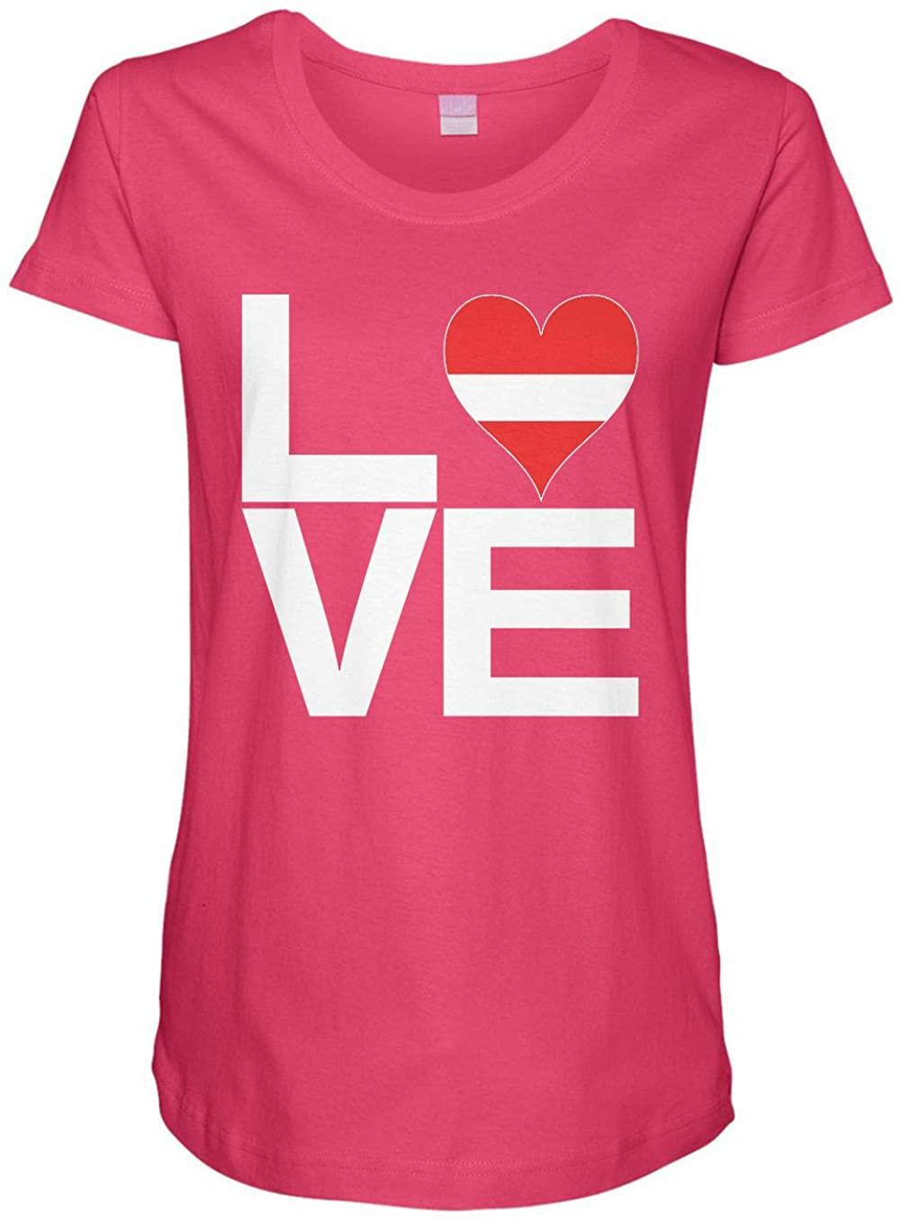 HARD EDGE DESIGN Ladies Love Block Latvia Heart Maternity Tee, 3X-Large, Hot Pink