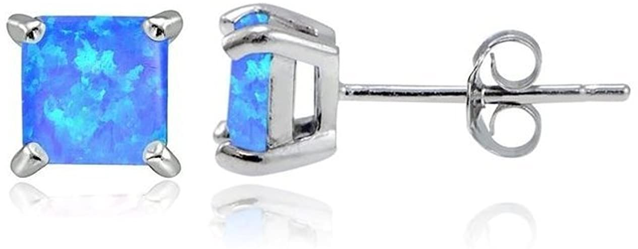 Women Sterling Silver Magnificent Lab Created Blue Opal Stud Earring, Ear Pierced Only