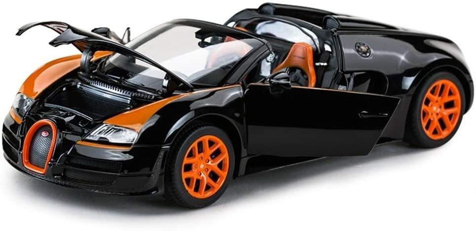 Hty Car Model 1:18 / Compatible with Bugatti/Alloy Simulation Boy Car Static Car Model (Color : Black Orange)
