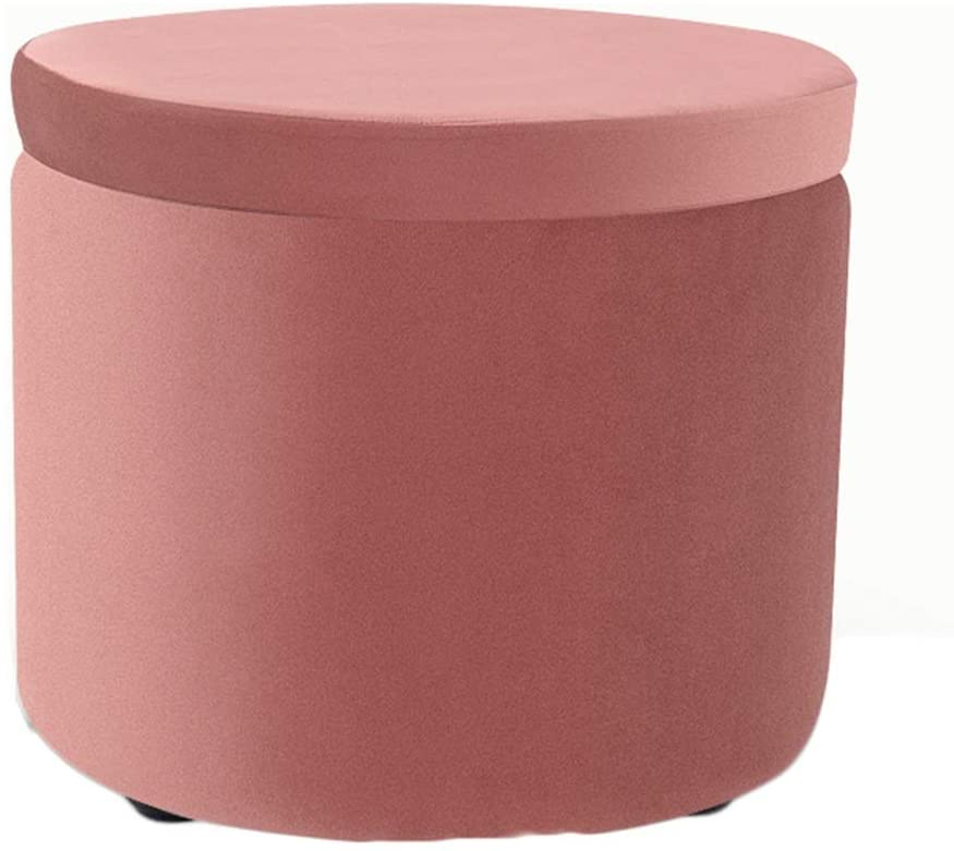 FQJYNLY Foot Stool Storage Ottoman Small Round Footrest Shoe Stools Velvet Fabric Children Toy Box Living Room, 6 Colors (Color : Pink, Size : 36X30CM)