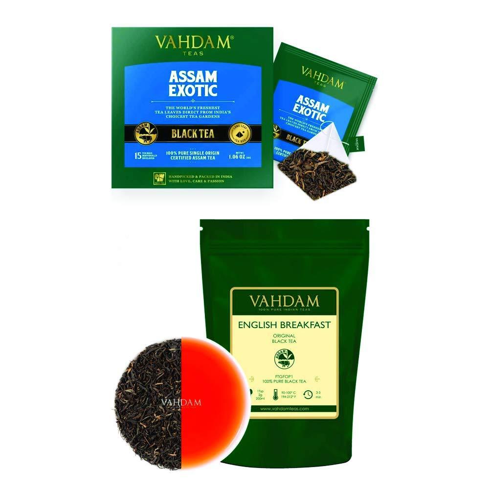 VAHDAM, Original English Breakfast Black Tea Leaves (16oz) + Assam Black Tea - 30 Tea Bags   100% Certified Pure Black Loose Leaf   Brew Hot, Iced Tea   VALUE PACK   Makes 230+ Cups