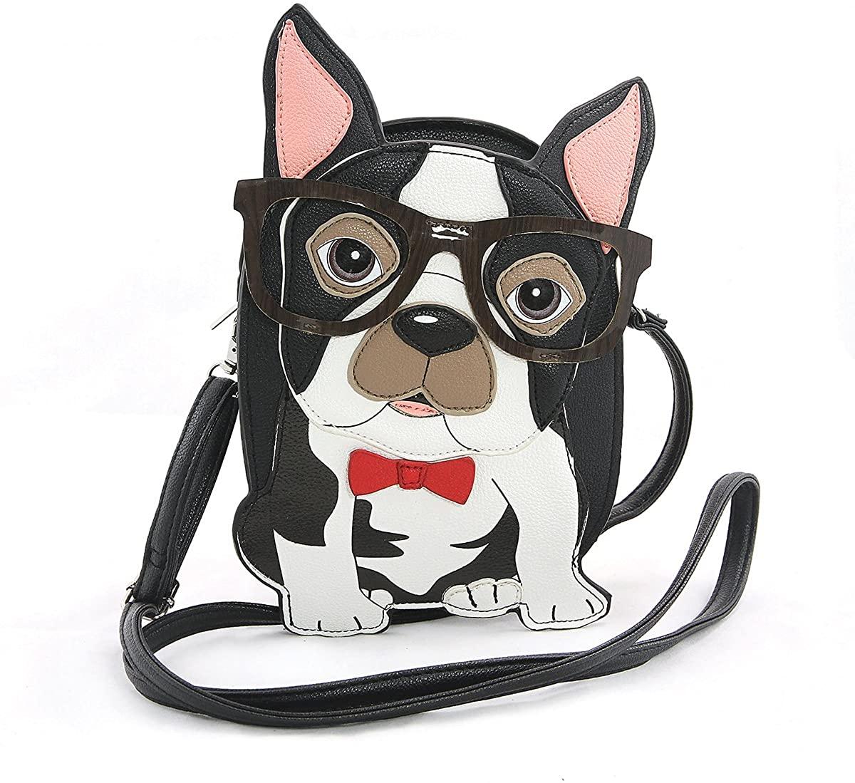 Sleepyville Critters Nerdy Boston Terrier Crossbody Bag On Vinyl