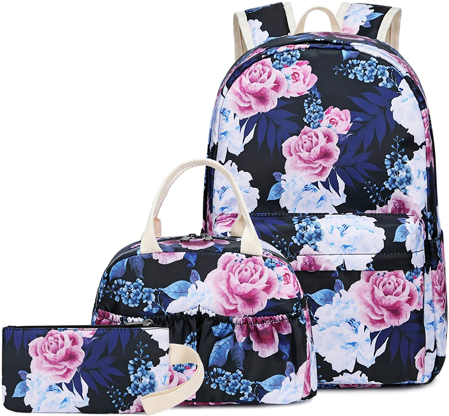 BLUBOON Teens Backpack Set Canvas Girls School Bags, Bookbags 3 in 1