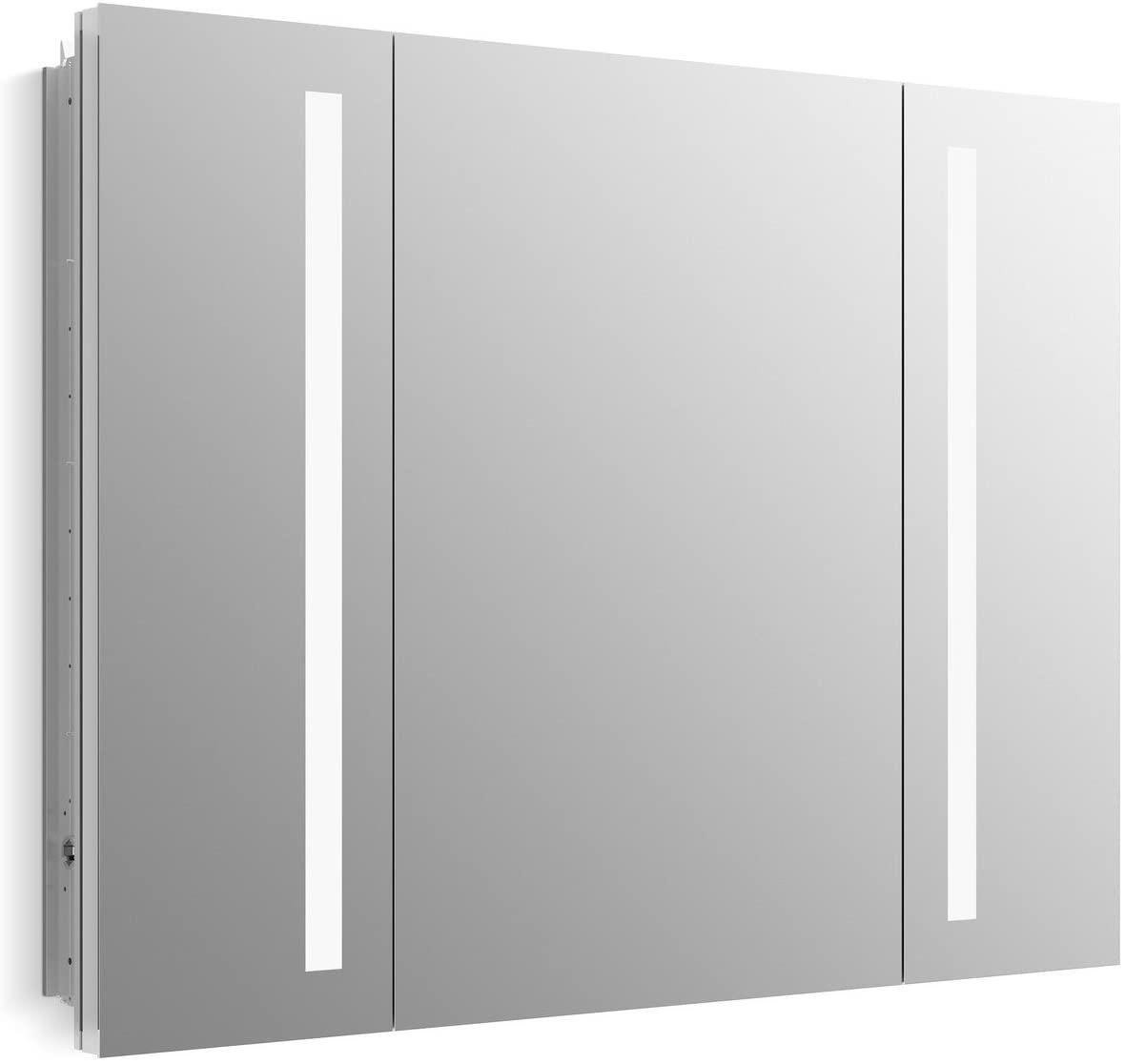 KOHLER K-99011-TL-NA Verdera 40 inch x 30 inch LED Lighted Bathroom Medicine Cabinet, Slow Close Hinge, Internal Magnifying Mirror; Aluminum; Recess or Surface Mount; 3 Doors
