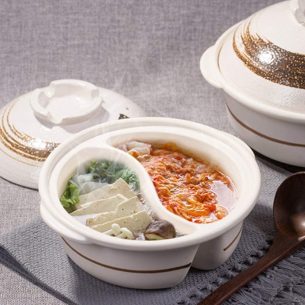 ZZFF Shabu Shabu Hot Pot,Dual Sided Yin Yang Hot Pot with Divider,Double-Flavor Yuanyang Hot Pot,Donabe Japanese Clay Hot Pot,Heat-Resistant Ceramic Casserole A 2l