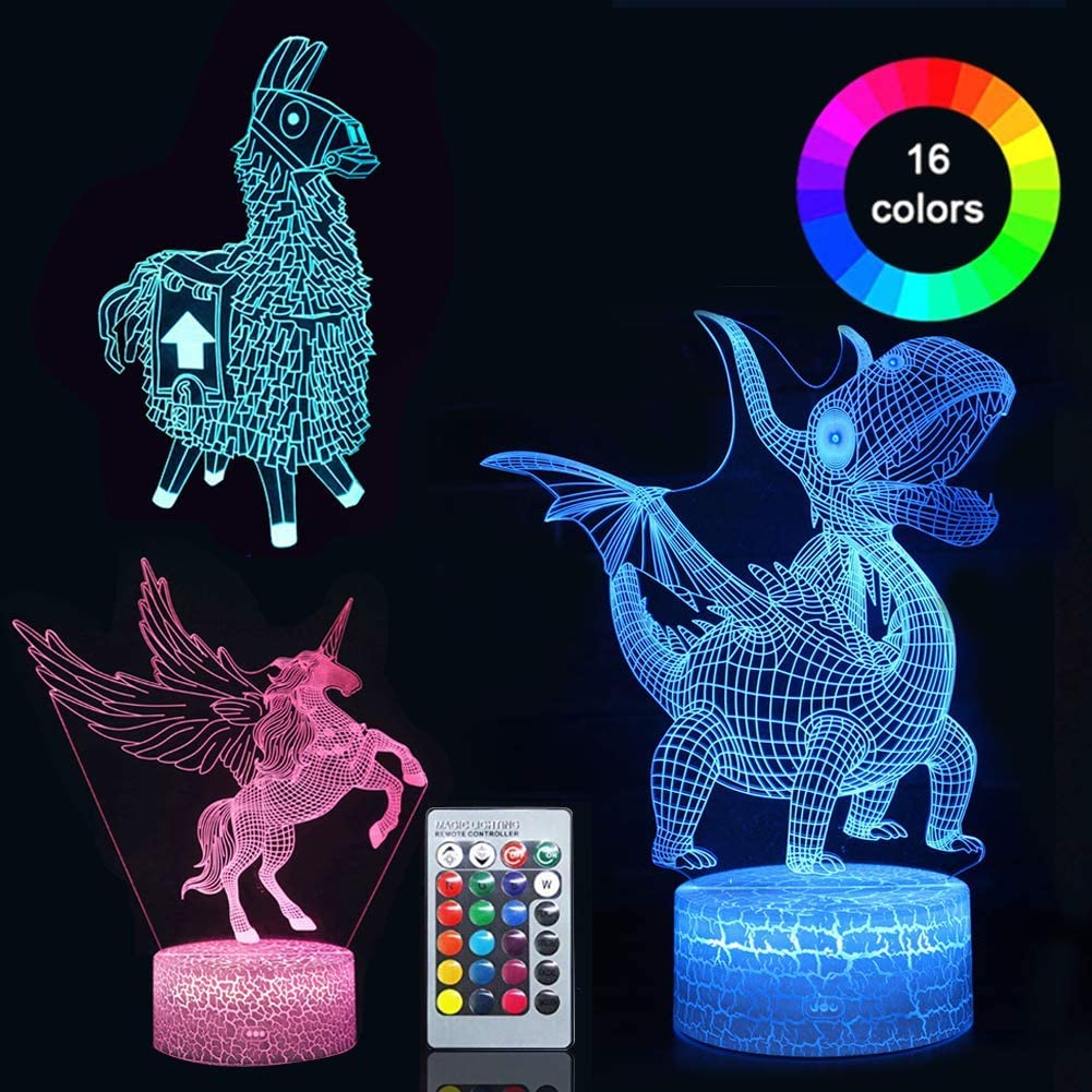 Eleanistor 3D Illusion Night Light 7 Colors Change Decor Lighting with Remote-Led Table Lamp-Unicorn-Alpaca-Dinosaur Gifts Toys for Boys Girls Bedroom(3 Packs)
