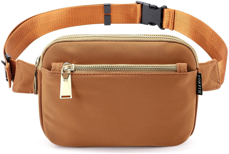 Zorfin Fanny Packs for Women Fashionable Black Nylon Belt Bag (Brown2)