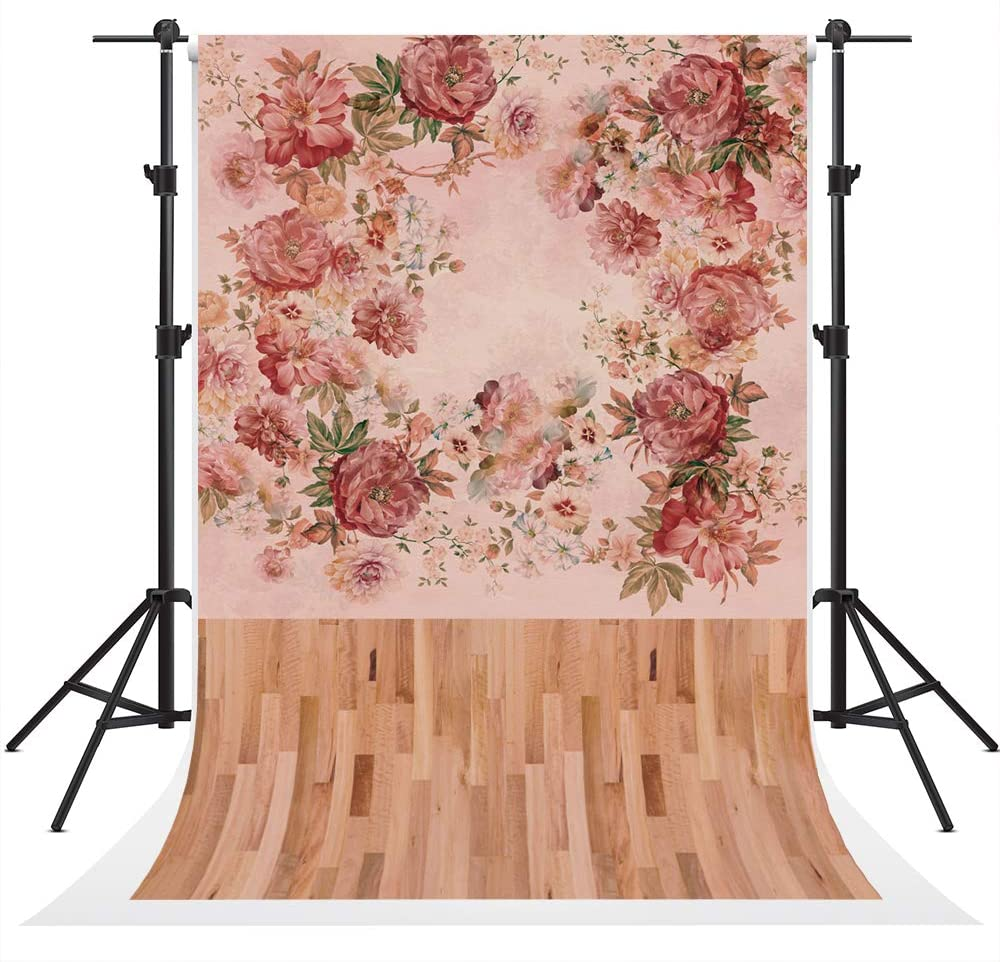 Kate Pink Flowers Wallpaper Photography Backdrops 20x10ft Brown Wood Floor Photography Backgrounds Props