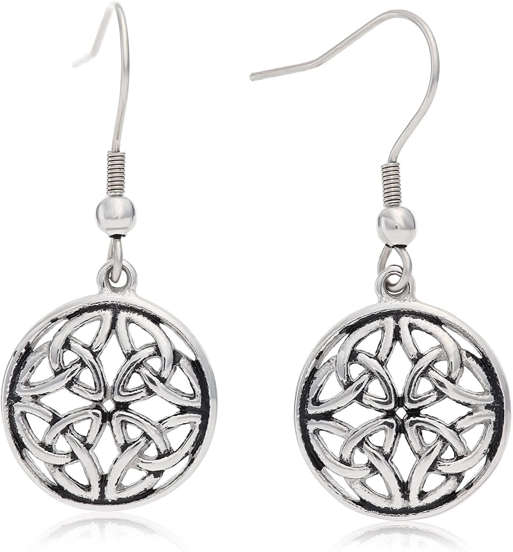 Stainless Steel Celtic-Knot Round Drop Earrings, With Fishhook Backing, For Pierced Ears, Great for Sensitive Ears, By Regetta Jewelry