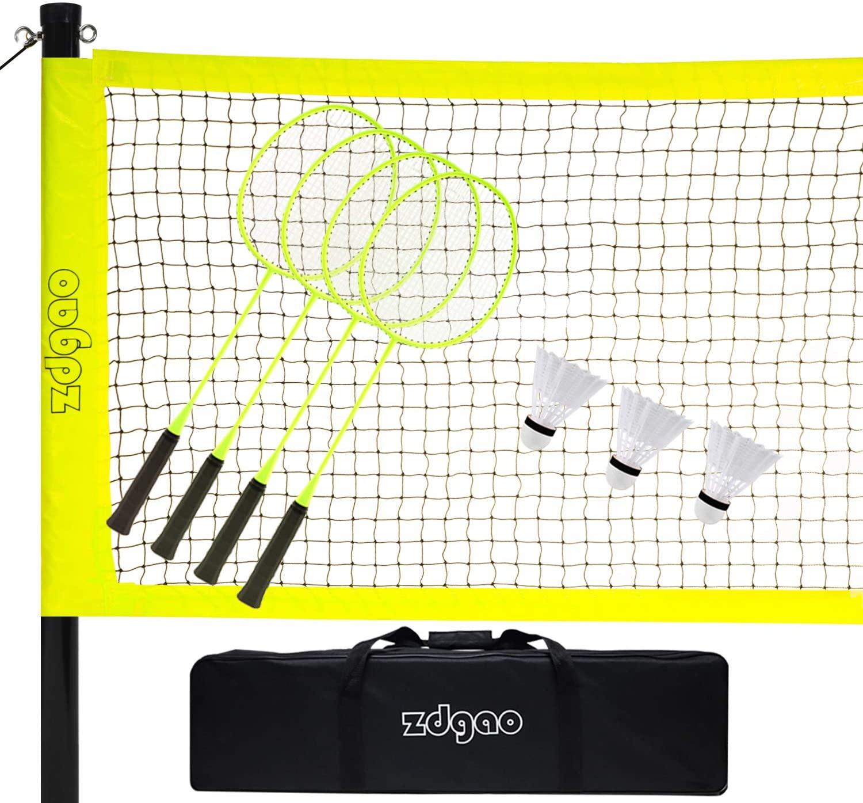 Badminton Set for Backyard Portable Outdoor Badminton Complete Set w/Badminton Net + Easy Setup Aluminum Pole System + 4 Pro Racquets + 3 Nylon Shuttlecocks + 1 Carrying Bag