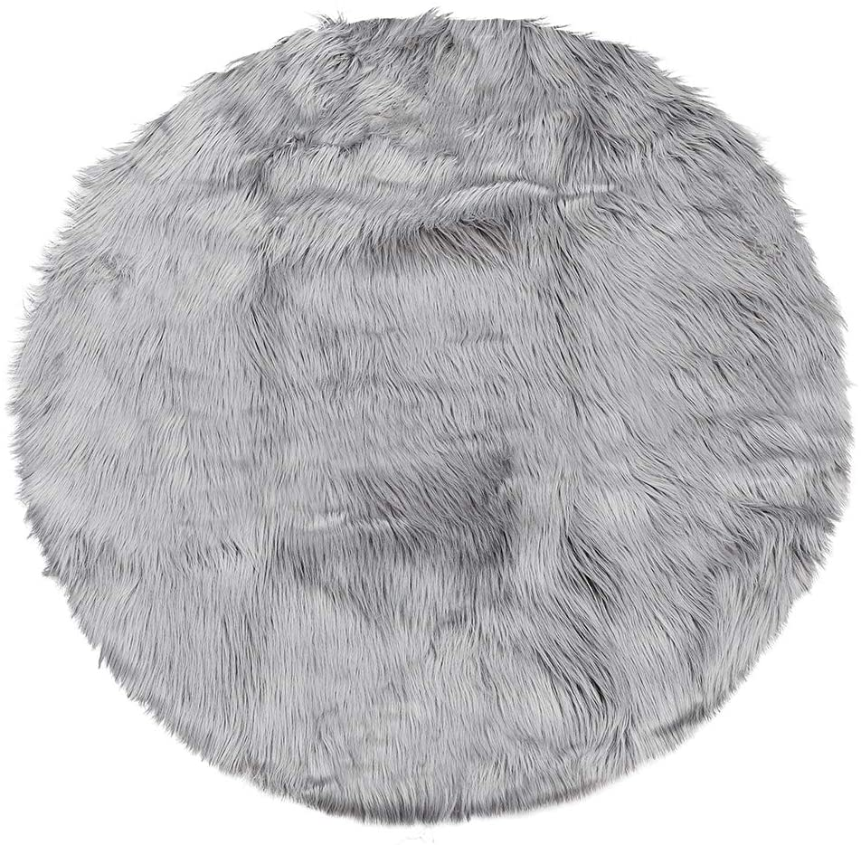 uxcell Faux Sheepskin Area Rug Indoor Soft Fluff Carpet Rugs for Bedroom Floor Sofa Cabinet Living Room 2x2 Feet Round, Light Gray