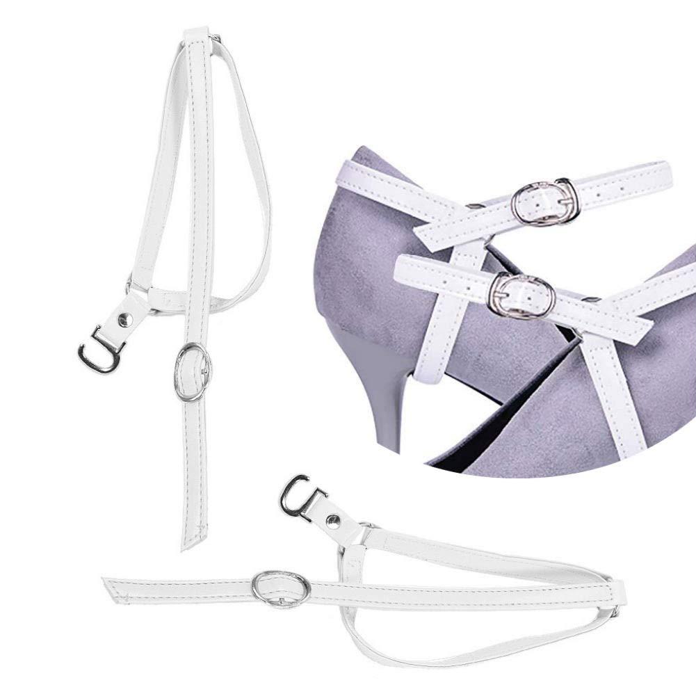 AKOAK 1 Pair White High Heels Anti-loose Shoelaces Women's Foot Care Ankle Shoe Tie Straps Detachable PU Leather Shoe Straps