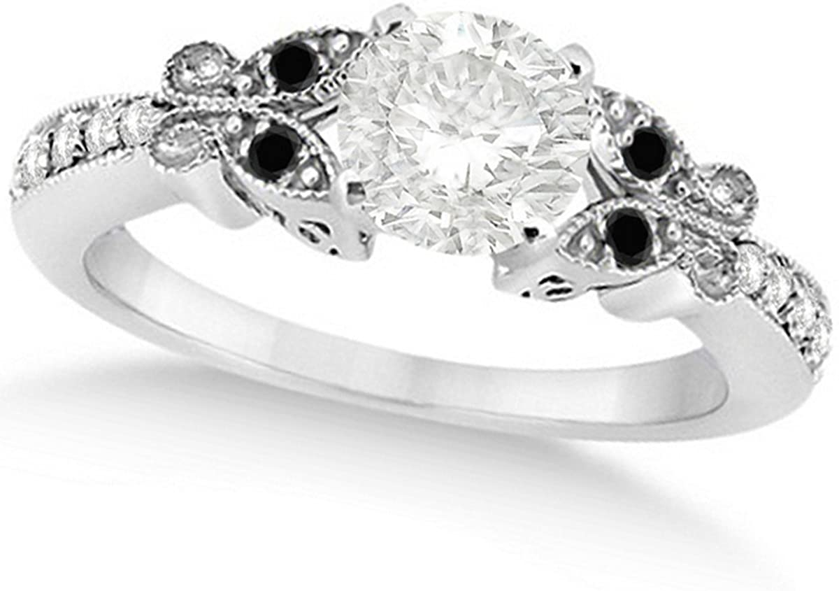 Butterfly Round Shaped Diamond and Black Diamond Engagement Ring 14k White Gold (1.00ct)