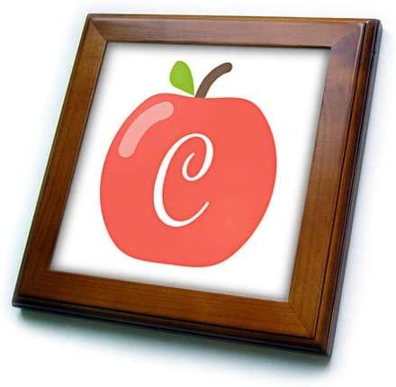 3dRose Stamp City - Typography - Monogram Letter C Inside a red Apple on a White Background. - 8x8 Framed Tile (ft_324748_1)