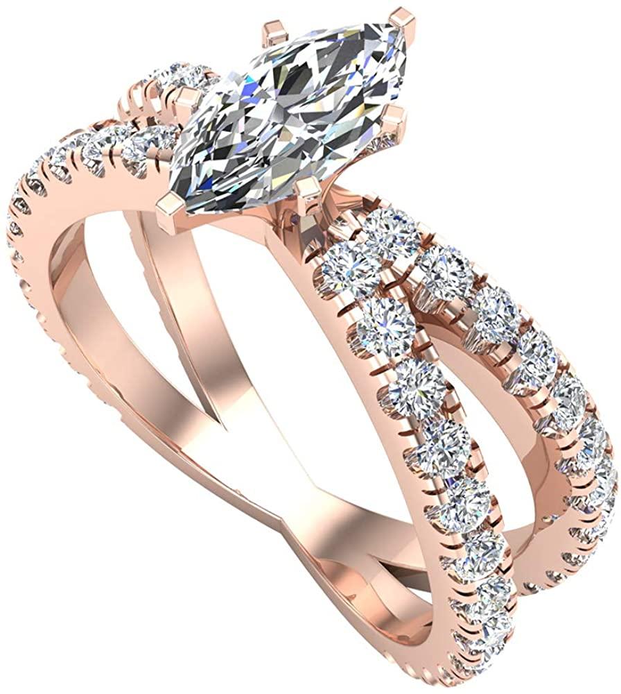 X Cross Split Shank Marquise Cut Diamond Engagement Ring 1.75 carat Total 18K Gold (G-H,VS2)