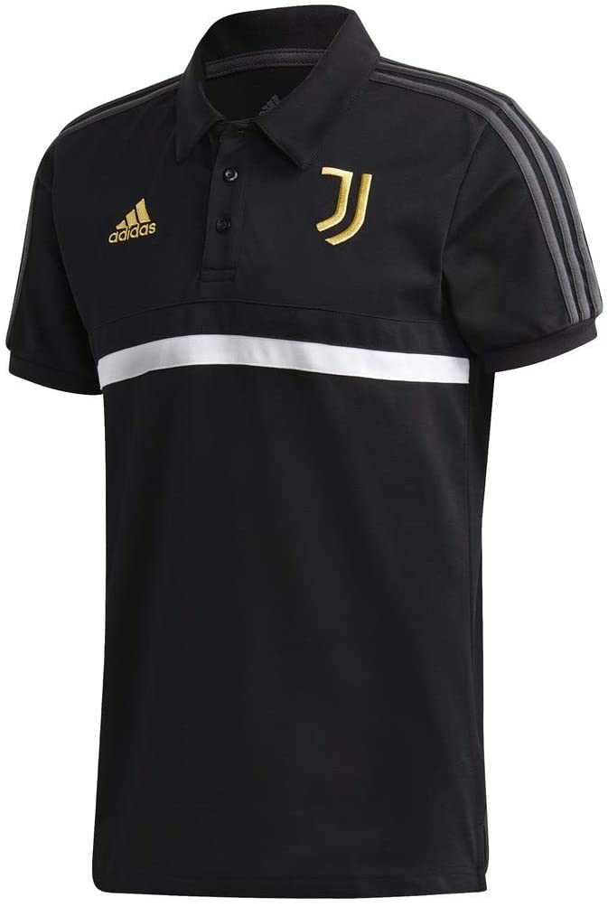 adidas 2020-2021 Juventus 3S Polo Football Soccer T-Shirt Jersey (Black)