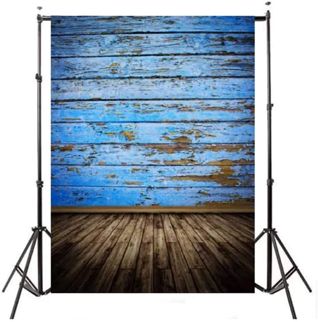 QERNTPEY Photo Backgrounds Blue Wood Floor Photography Backdrop Background Studio Photo Prop Easy to Carry (Color : Multi-Colored, Size : 210x150cm)
