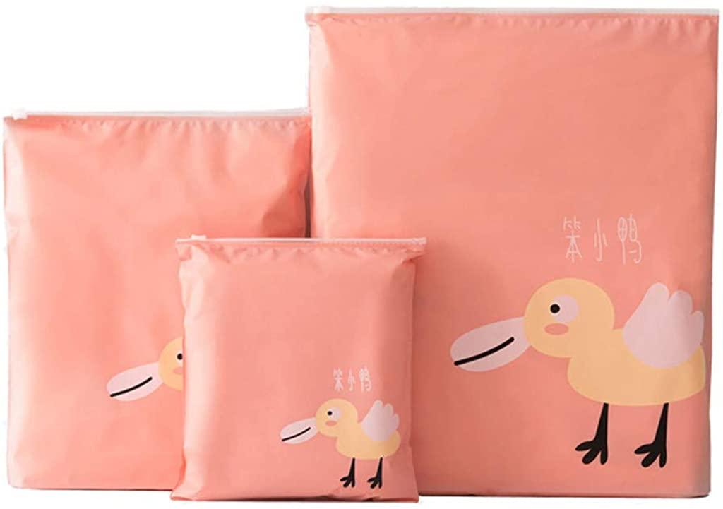 JSPOYOU 3 Pcs Travel Portable Storage Bags Cartoon Pattern Practical Waterproof Storage