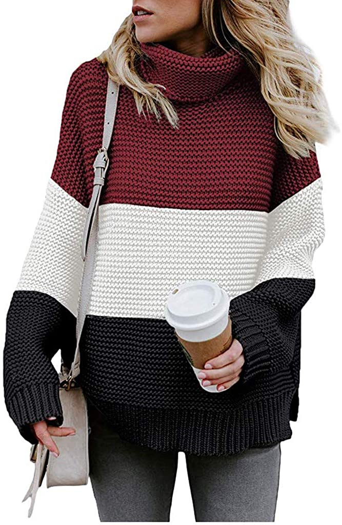 MoonHome Women's Turtleneck Pullover Sweater Long Sleeve Oversized Chunky Knit Warm Tops Outerwear