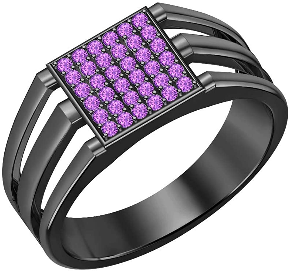 Gold & Diamonds Jewellery 14k Black Gold Plated Purple Amethyst Cluster Art Deco Wedding Band Ring for Men's
