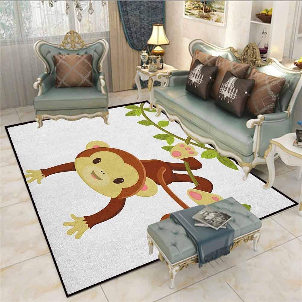 Nursery Children Play Princess Room Decor Rug Cute Cartoon Monkey Hanging on Liana Playful Safari Character Cartoon Mascot Chair mats for Carpeted Floors Brown Green Pink 6.5 x 9.8 Ft