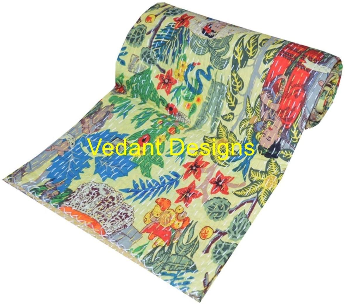 V Vedant Designs Indian Handmade Frida Kahlo Print Kantha Quilt Boho Kantha Blanket Bed Cover Kantha Quilt