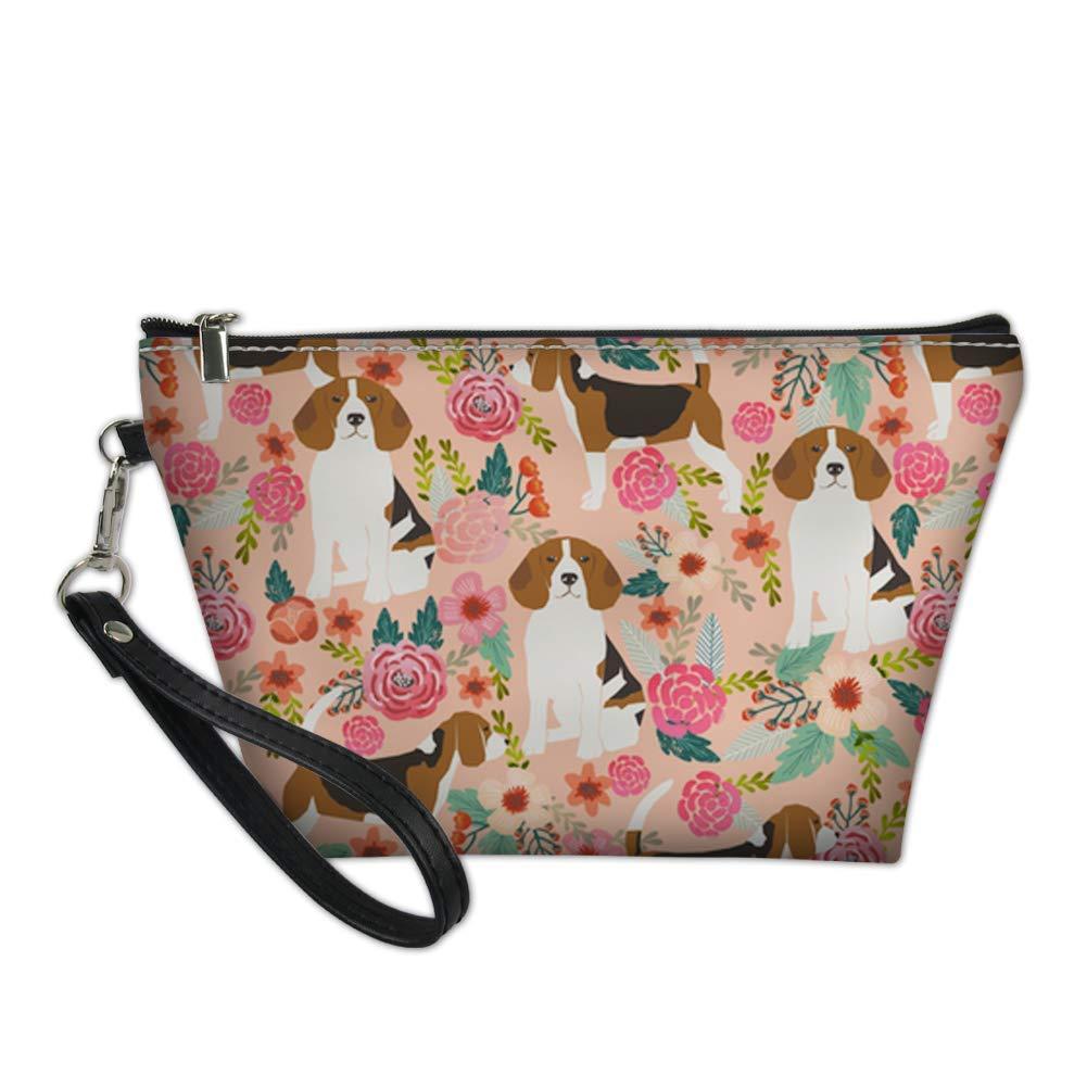 HUGS IDEA Fashion Beagle Flower Printed Womens Cosmetic Makeup Bags Small Zipper Closure Clutch Purse