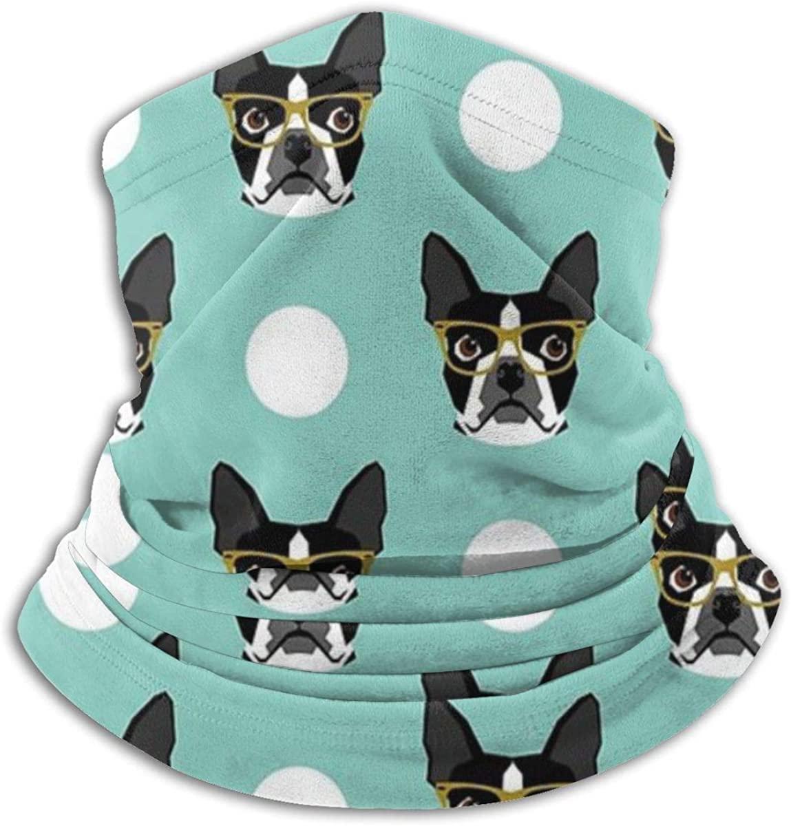 Boston Terrier Portable Storage Seamless Face Mask Bandanas for Dust Wind Neck Gaiter Magic Scarf, Outdoors, Festivals, Sports Black