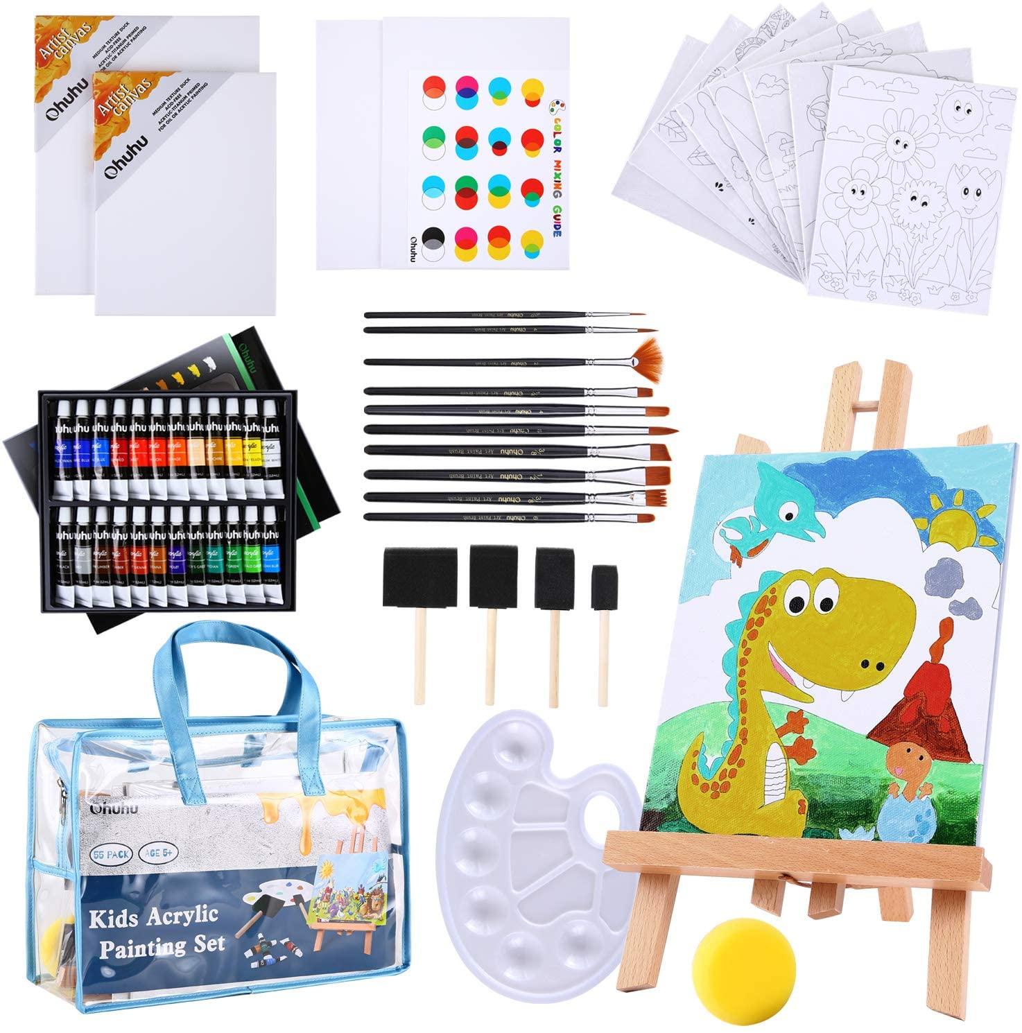 Paint Set for Kids, Ohuhu 55pcs Kids Art Set Paint Easel Includes 24 Non Toxic Acrylic Paints, Table Top Easel, 12 Paint Brushes,12 Pcs Canvas, Paint Palette, Art Supplies for Kids with Travel Bag