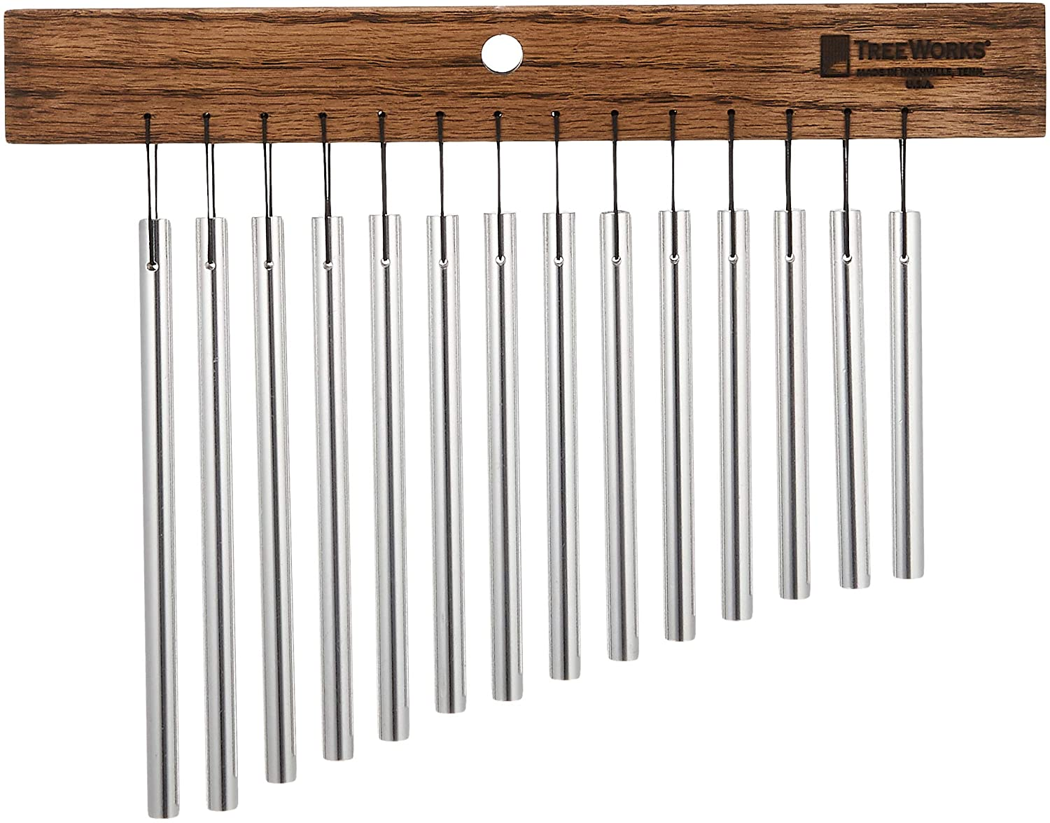 TreeWorks Chimes TRE417 Made in USA Small Single Row Bar Chime, 14-Bar Wind Chime (VIDEO)