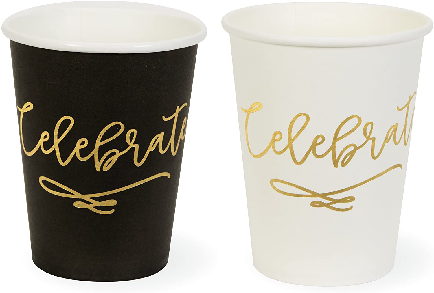 C.R. Gibson 'Celebrate' Black White and Gold Paper Cups, 9 oz, 12 ct.