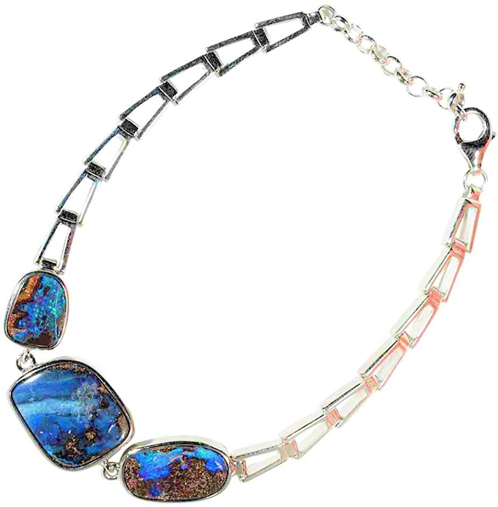 DEEP Ocean Floor Sterling Silver Natural Australian Opal Bracelet