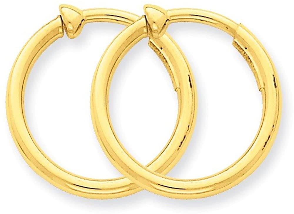 14k Yellow Gold Non-Pierced Hoop Earrings (15x2mm) for Women