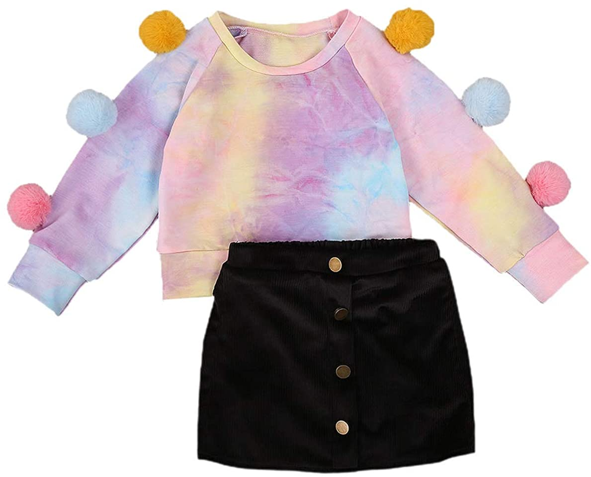 Infant Baby Girl Cotton Tie Dye Pompom Pullover Sweatshirt Top Velvet Button A Line Skirt Outfit Fall Winter Clothes