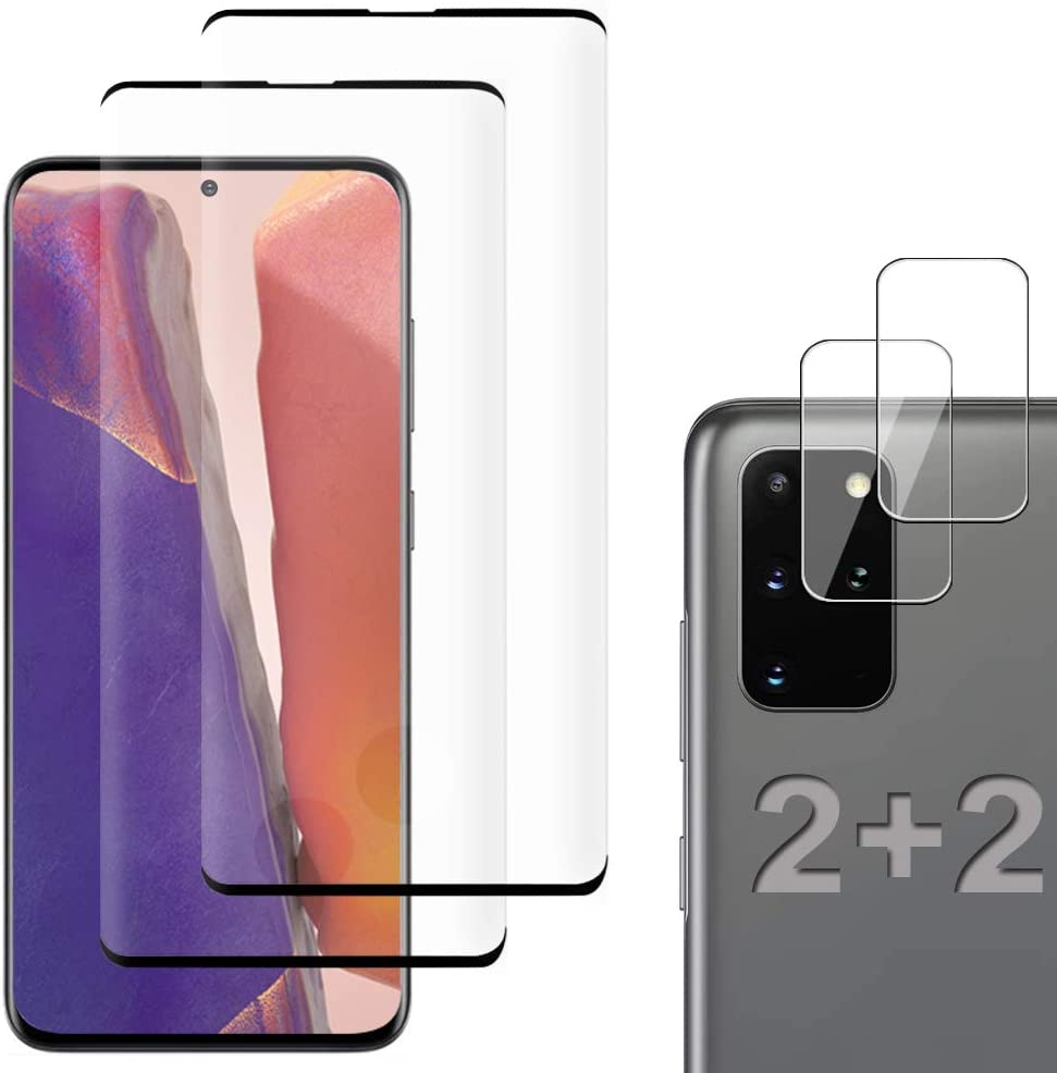 [2+2 Pack] Galaxy S20 Plus Screen Protector Include 2 Pack Tempered Glass Screen Protector+2 Pack Tempered Glass Camera Lens Protector,9H Hardness,HD Transparent,Scratch-Resistant for Galaxy S20 Plus