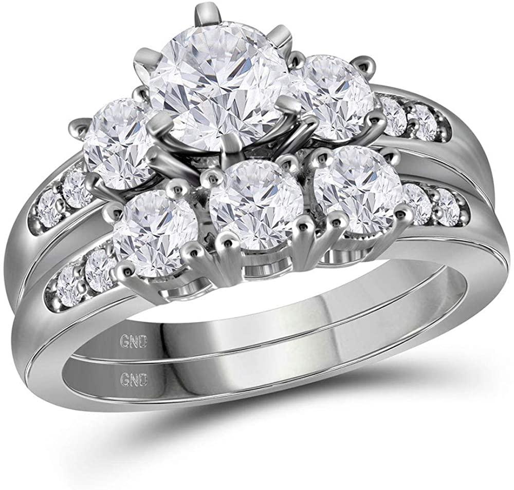 14k White Gold Round Diamond 3-Stone Bridal Wedding Ring Band Set 2 Cttw