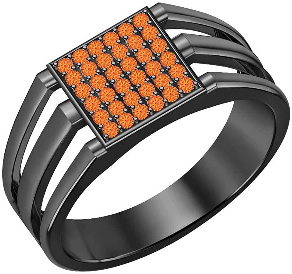 Gold & Diamonds Jewellery 14k Black Gold Plated Orange Sapphire Cluster Art Deco Wedding Band Ring for Men's