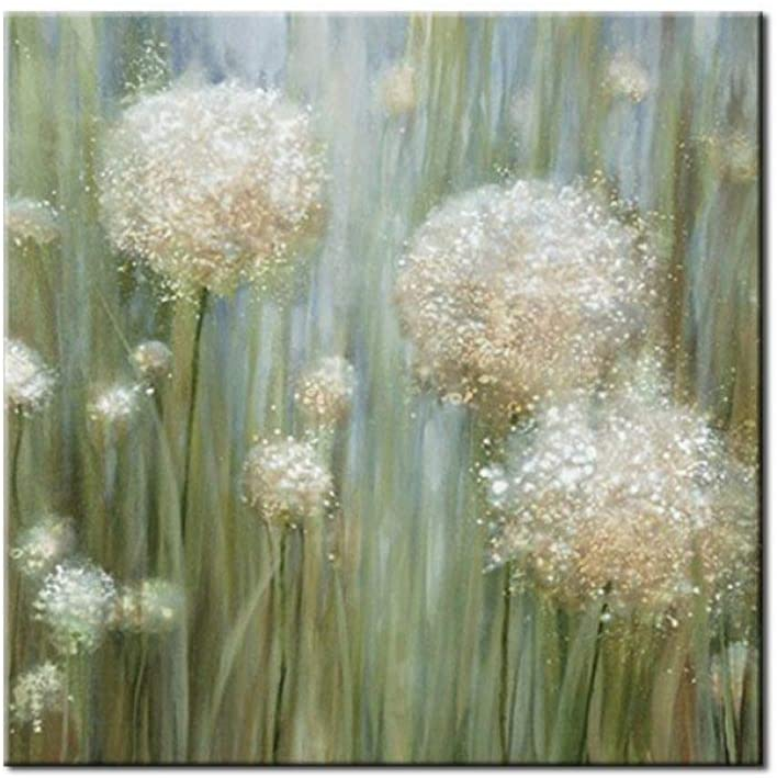 Oil Painting On Canvas,100% Hand Painted Watercolor Fresh Green Dandelion Flower Plant,Texture Palette Knife Paintings Picture Poster Modern Home Decor Wall Frameless Art Painting Gift,52X52Inch(