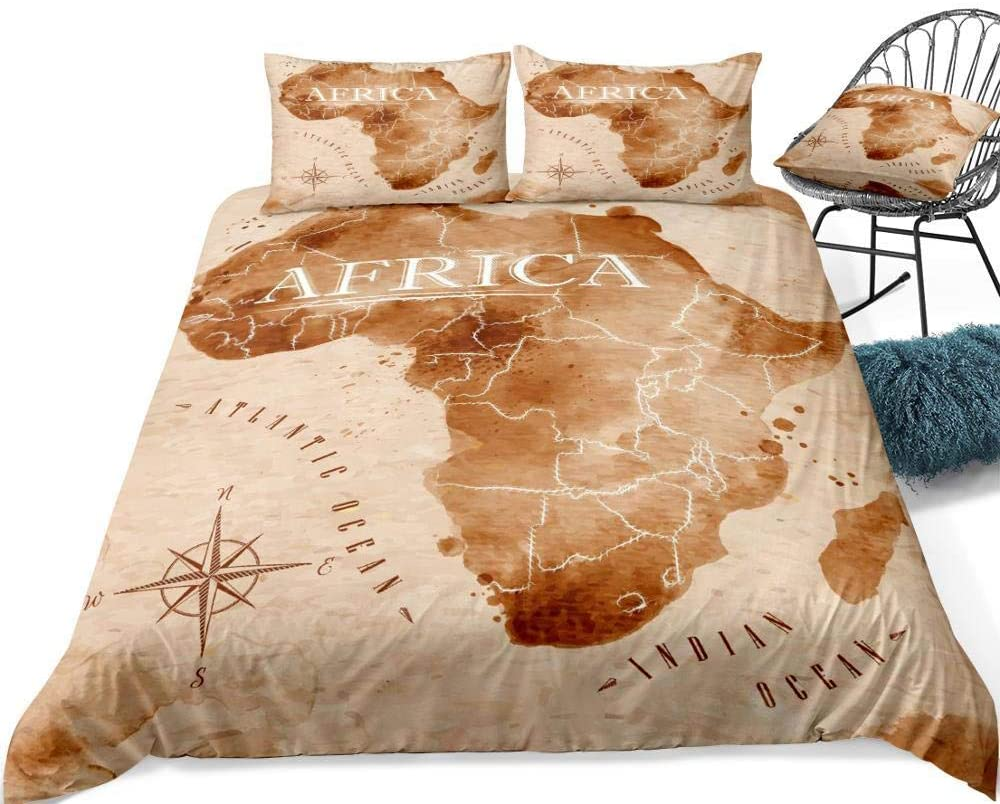 3D Bedding Set Printed,Vintage African Personality Map Art,3D Modern Pattern Bedding Set Duvet Cover Set Pastel Printed Comforter Cover 3 Pieces Bed Sets With 2 Pillow Cases,Us Queen 228Cmx228Cm