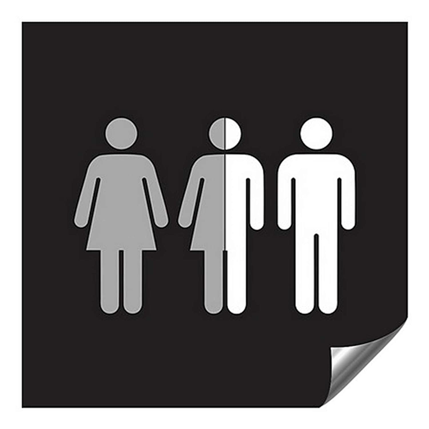 CGSignLab 2439184_5gfxa_24x24_None Gender Neutral Sign in Black and White Heavy-Duty Industrial Self-Adhesive Aluminum Wall Decal, Aluminum, 24