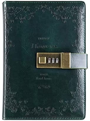 YINZHI Notebook Diary Notepad B6 Retro PU Cover Notebook Diary Book with Password Lock(Black) (Color : Green)