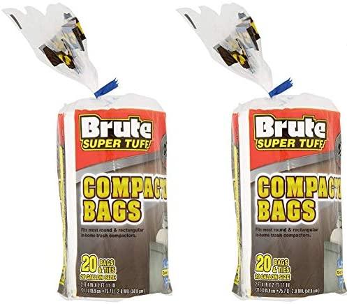 Brute Super Tuff (2 Pack) Heavy Duty 20 Gallon Size Compactor/Kitchen Bags - White