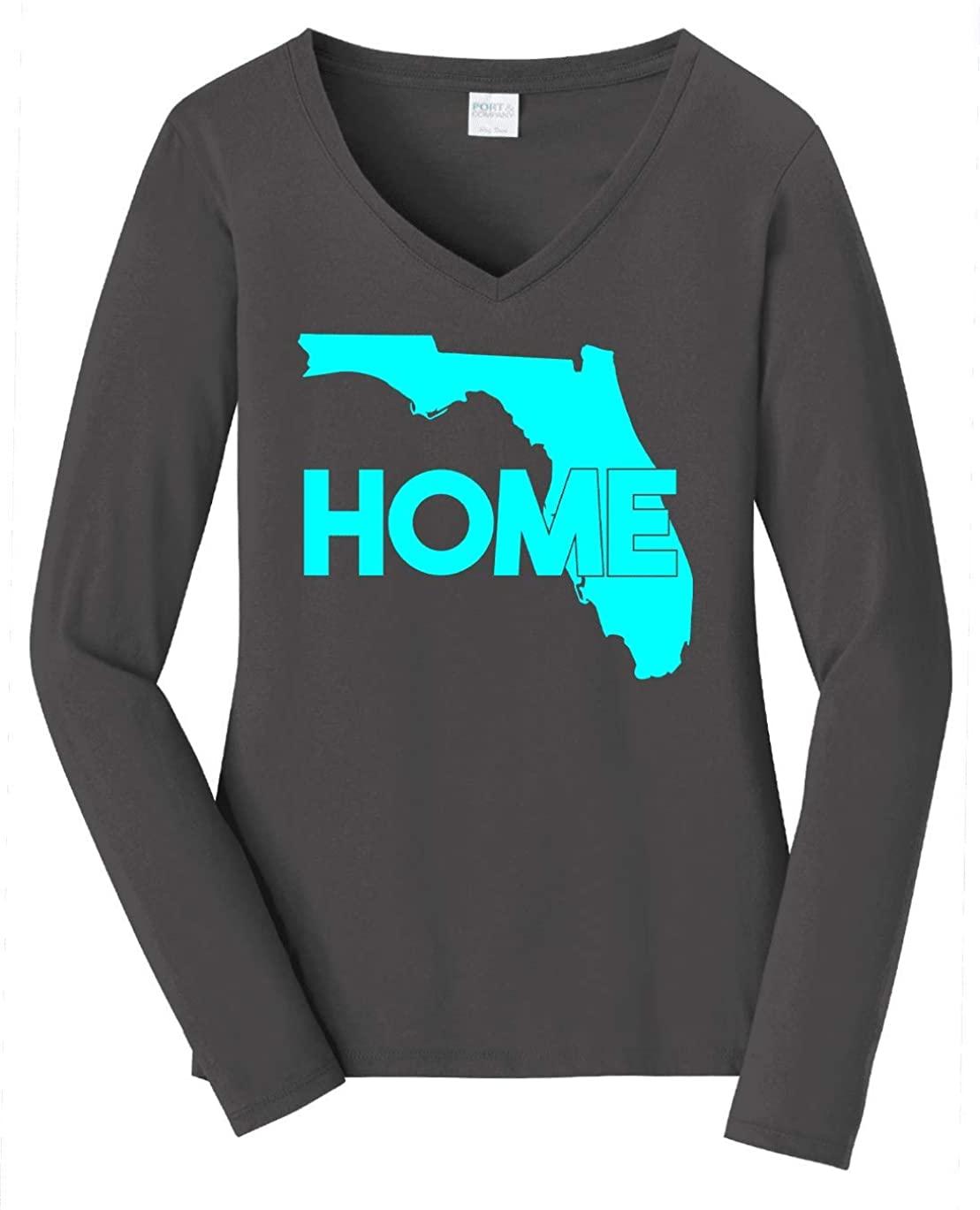 HARD EDGE DESIGN Women's Florida Home Long Sleeve V Neck T-Shirt, X-Large, Charcoal